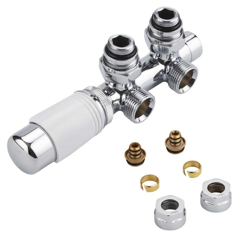 "Milano - Chrome 3/4"" Male H-Block Angled Valve With White TRV Head With 16mm Multi Adaptors"