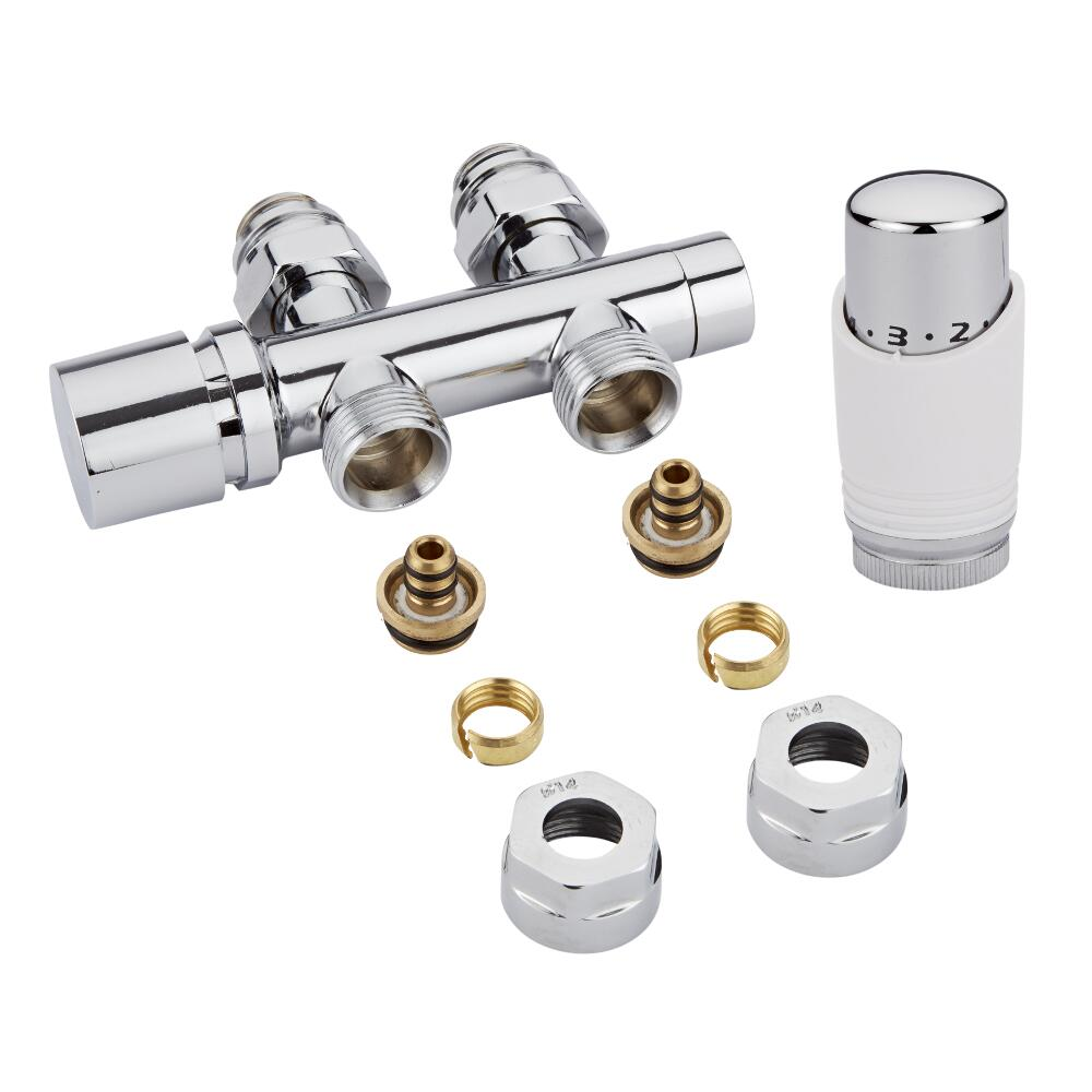 "Milano - Chrome 3/4"" Male H-Block Straight Valve With White TRV With 14mm Multi Adaptors"