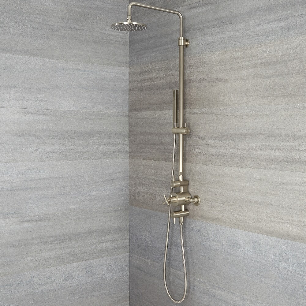 Tec - Modern Brushed Nickel Exposed Shower System
