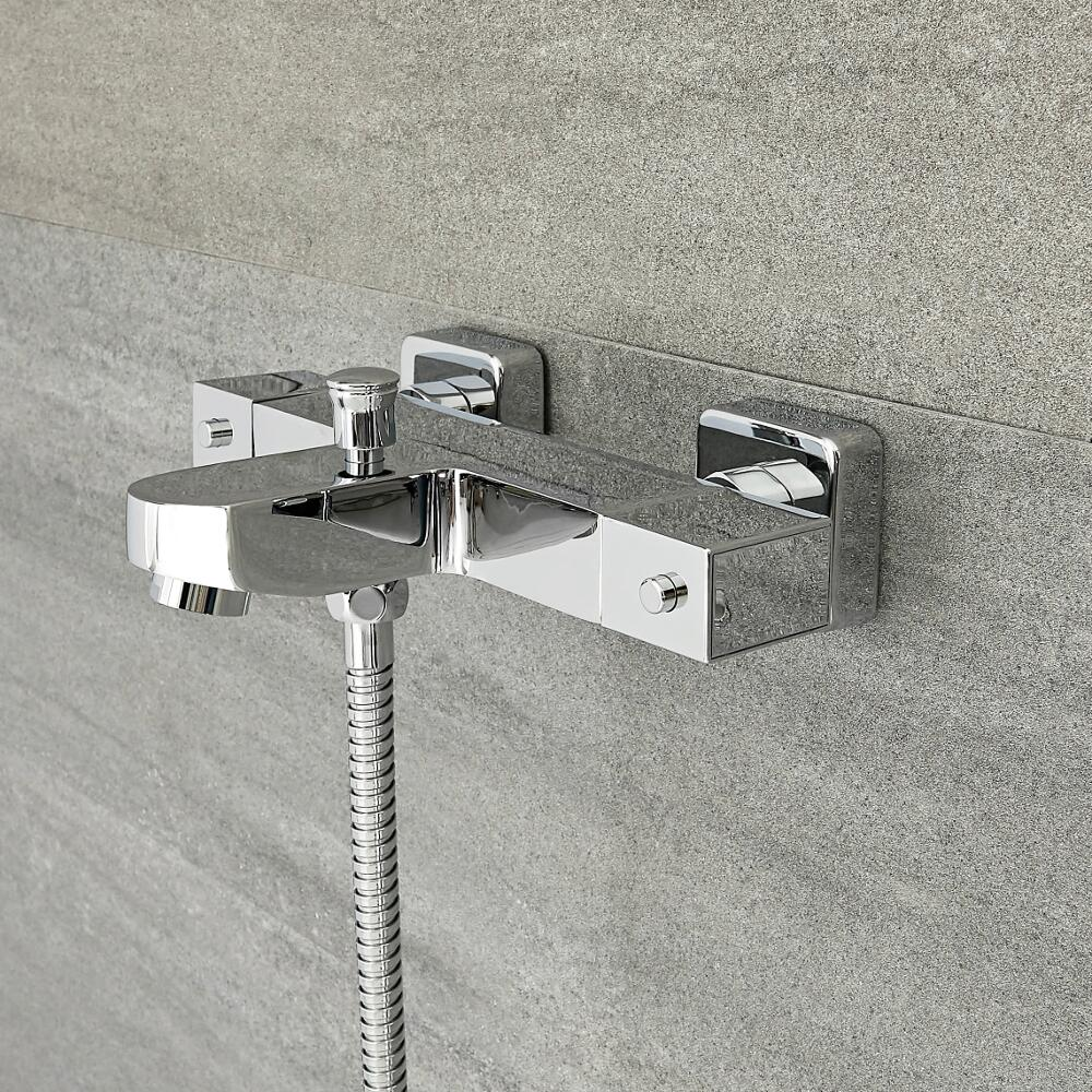 Milano Arvo - Modern Thermostatic Bath Shower Mixer Tap with Anti Scald - Chrome