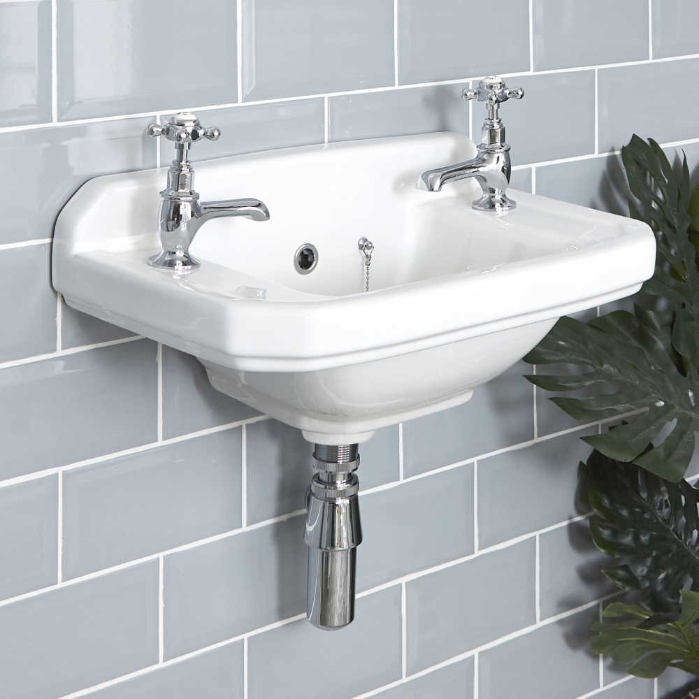 Milano Richmond - White Traditional Square Wall Hung Cloakroom Basin - 515mm x 300mm (2 Tap-Holes)