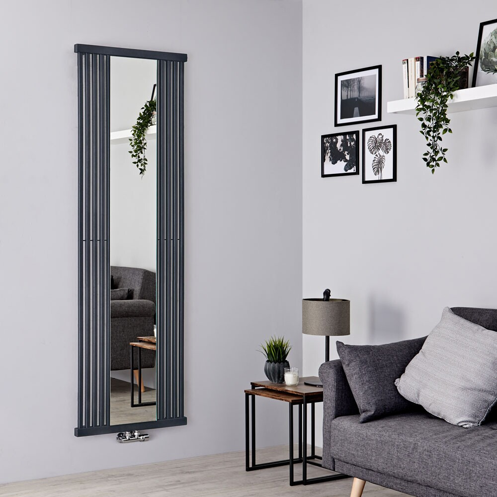Terma Intra - Stone Vertical Designer Radiator With Mirror - 1700mm x 640mm