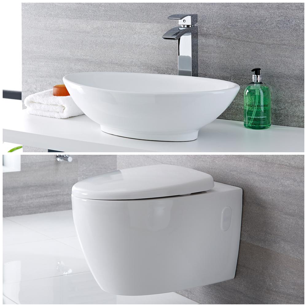 Milano Altham - Modern Wall Hung Toilet and Countertop Basin Set