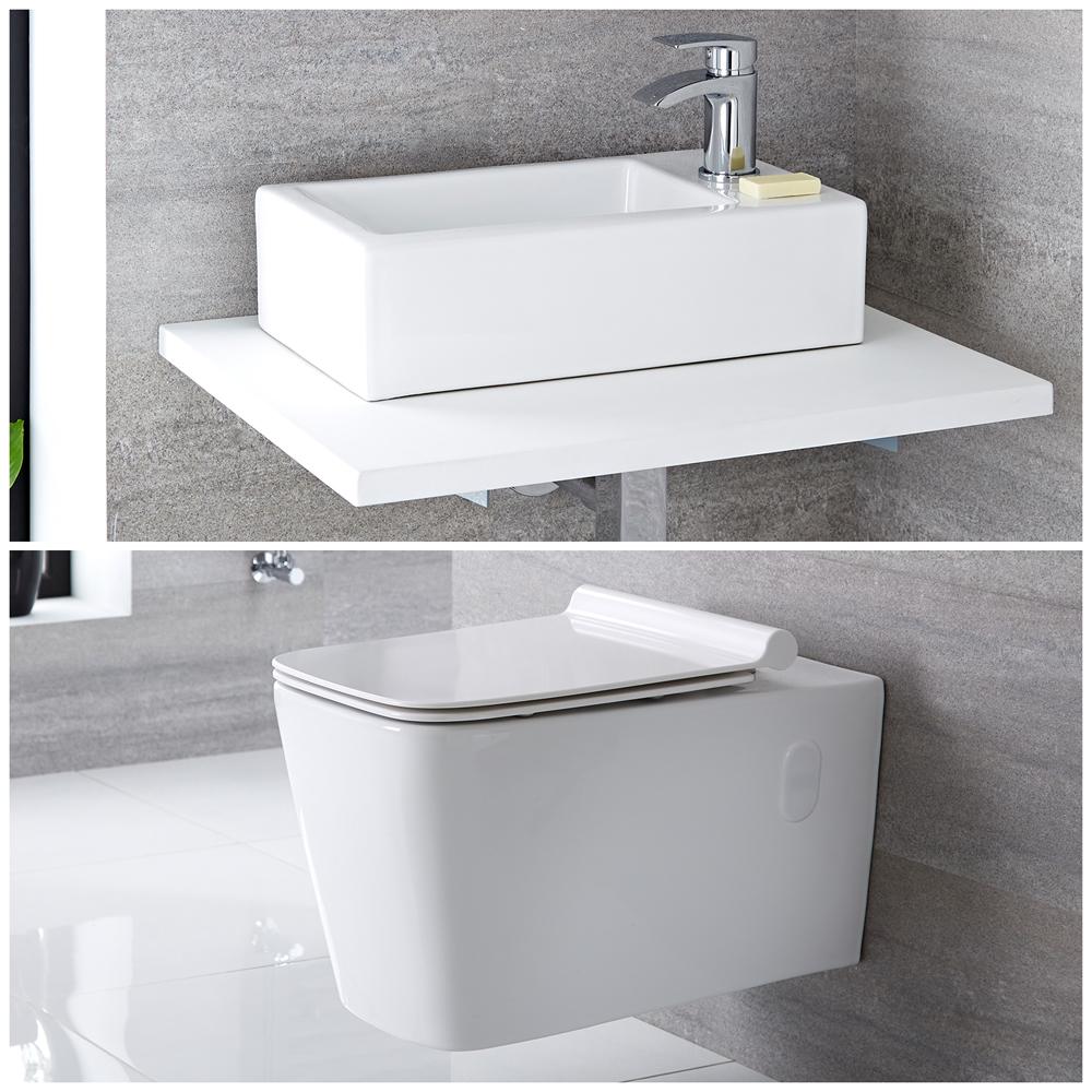 Milano Elswick - Modern Wall Hung Toilet and Basin Set