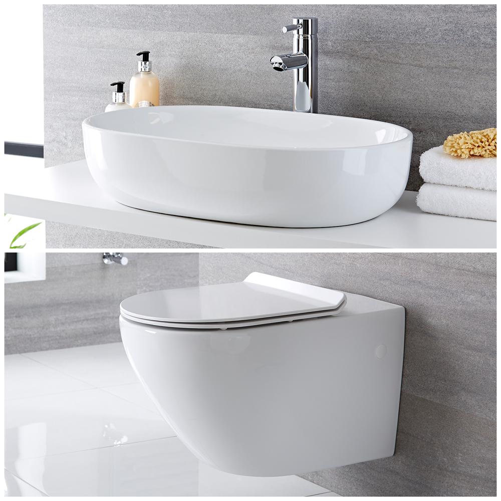 Milano Overton - Modern Wall Hung Toilet and Countertop Basin Set
