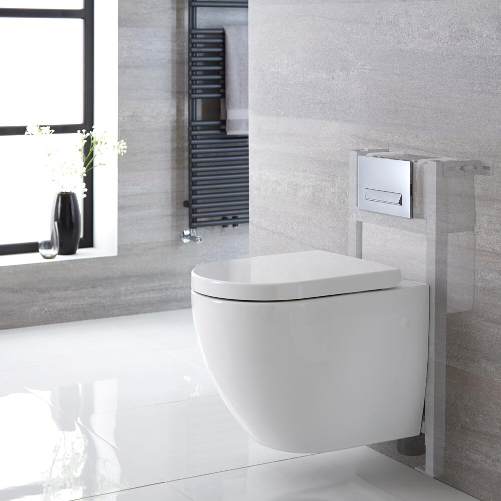 Milano Irwell - White Modern Wall Hung Toilet with Short Wall Frame and Choice of Flush Plate - 385mm x 365mm