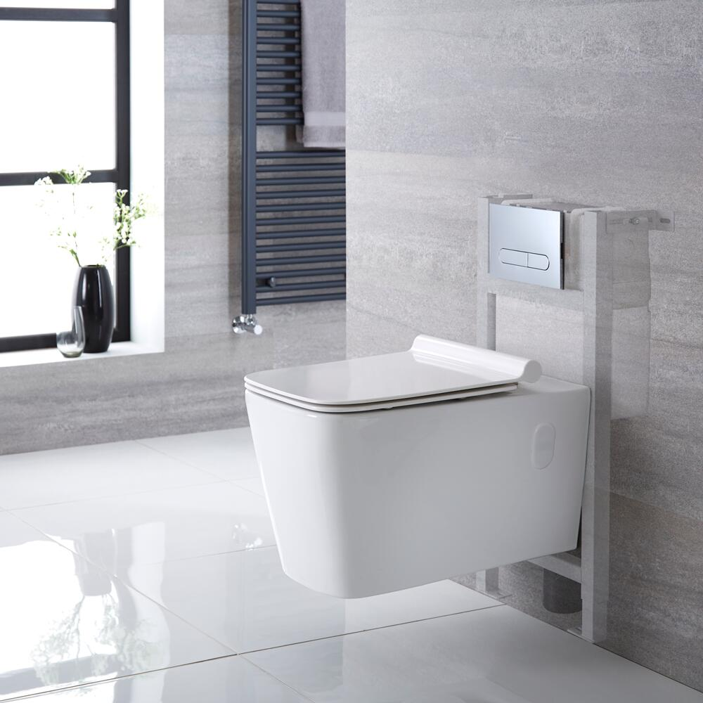 Milano Elswick - White Modern Wall Hung Toilet with Short Wall Frame and Choice of Flush Plate - 360mm x 345mm