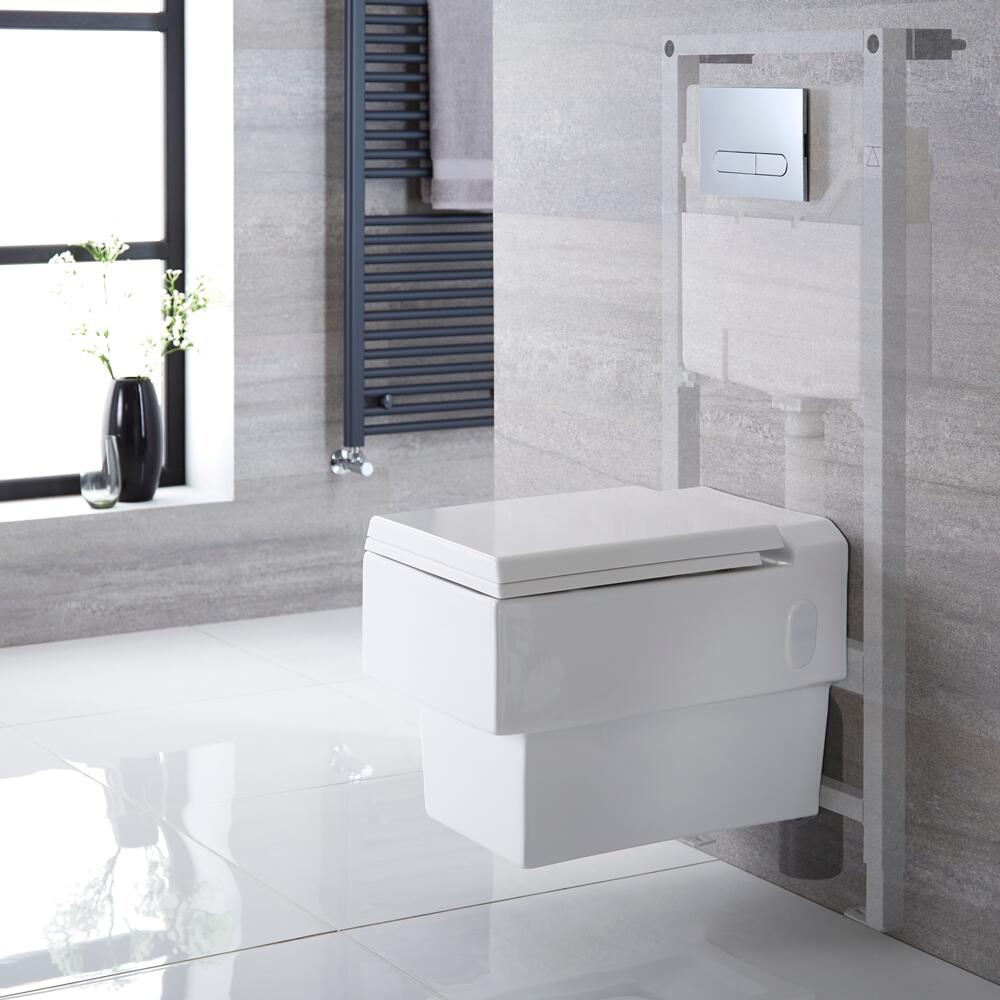 Milano Westby - White Modern Wall Hung Toilet with Tall Wall Frame - Choice of Flush Plate