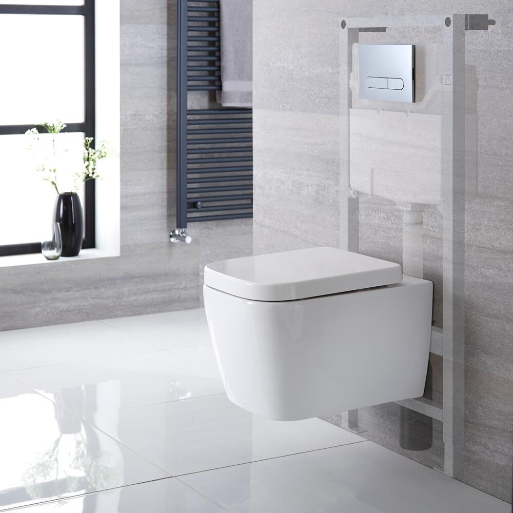 Milano Longton - White Modern Wall Hung Toilet with Tall Wall Frame and Choice of Flush Plate - 345mm x 350mm