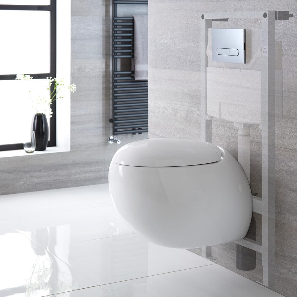 Milano Mellor - White Modern Wall Hung Toilet with Tall Wall Frame and Choice of Flush Plate - 420mm x 350mm