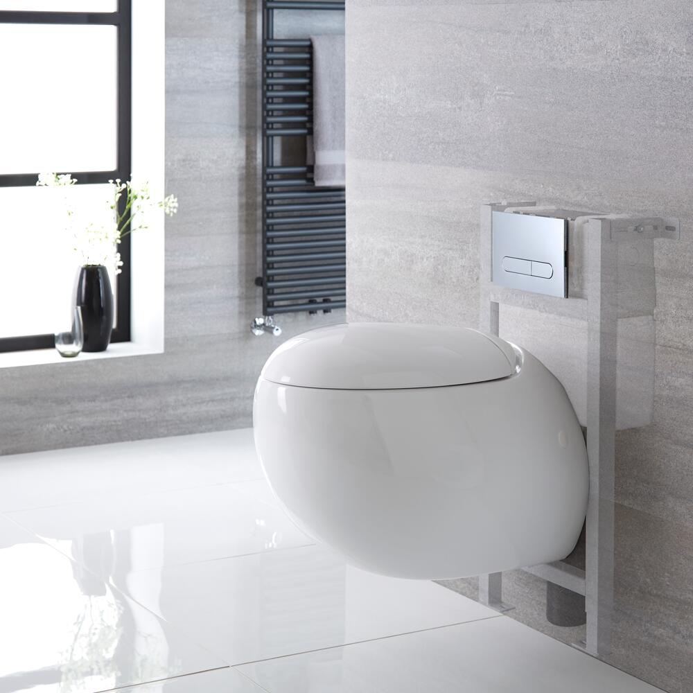 Milano Mellor - White Modern Wall Hung Toilet with Short Wall Frame and Choice of Flush Plate - 420mm x 350mm
