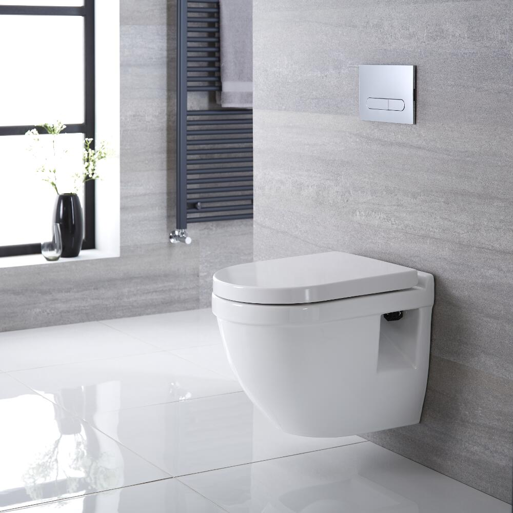 Milano Newby Wall Hung Toilet, Short Wall Frame and Choice of Flush Plate