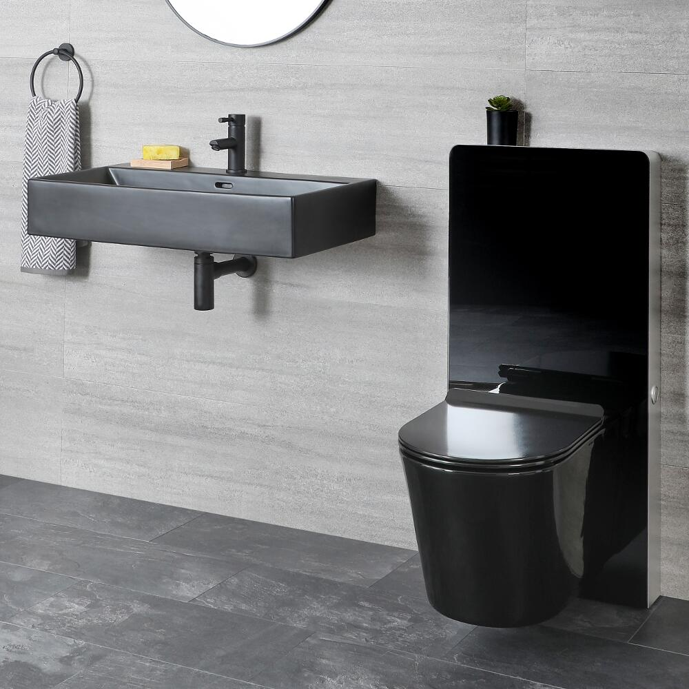 Milano Nero - Modern Wall Hung Basin and Toilet with WC Unit - Black