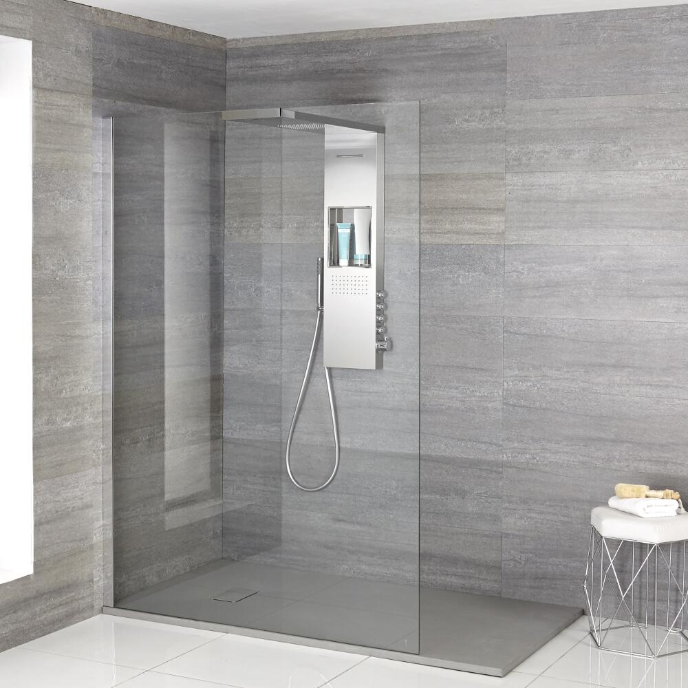 Milano Vaso - Complete Walk-In Shower Enclosure with Grey Slate Tray and Shower Tower
