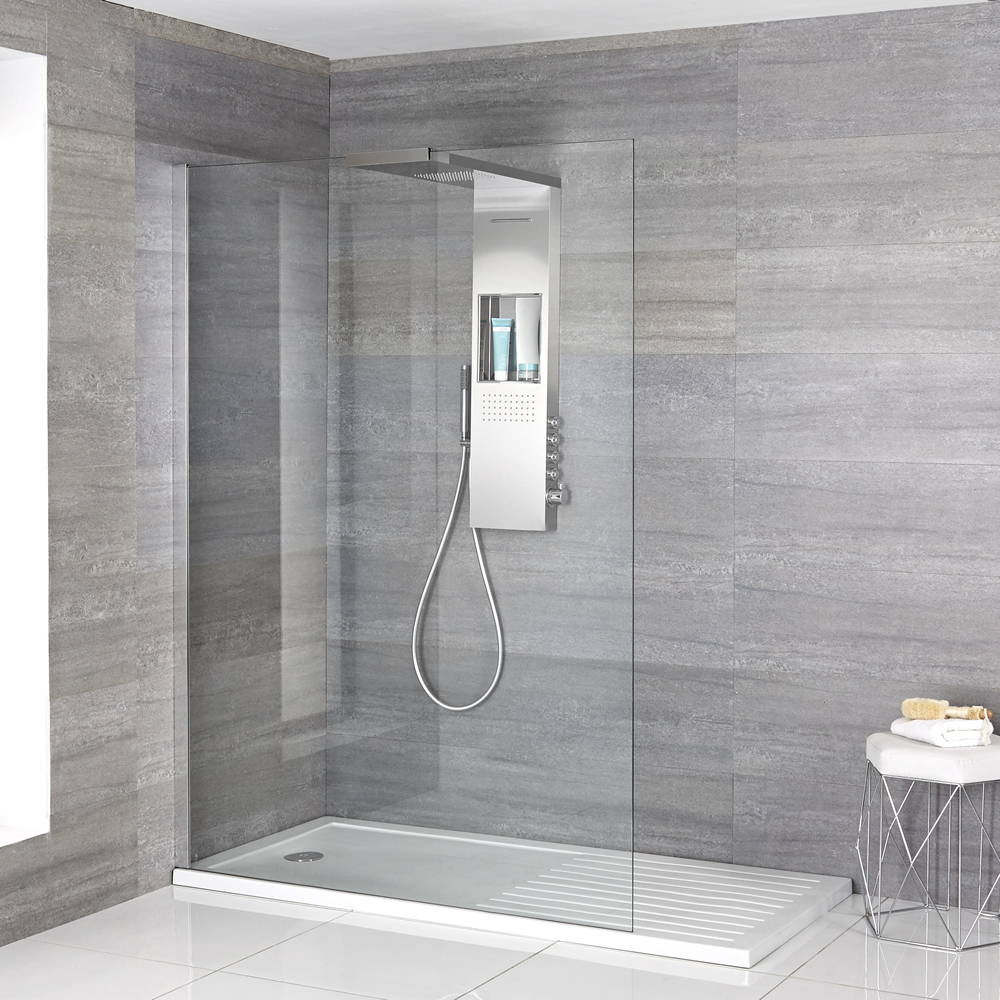 Milano Vaso - Complete Walk-In Shower Enclosure with Walk-In Tray and Shower Tower
