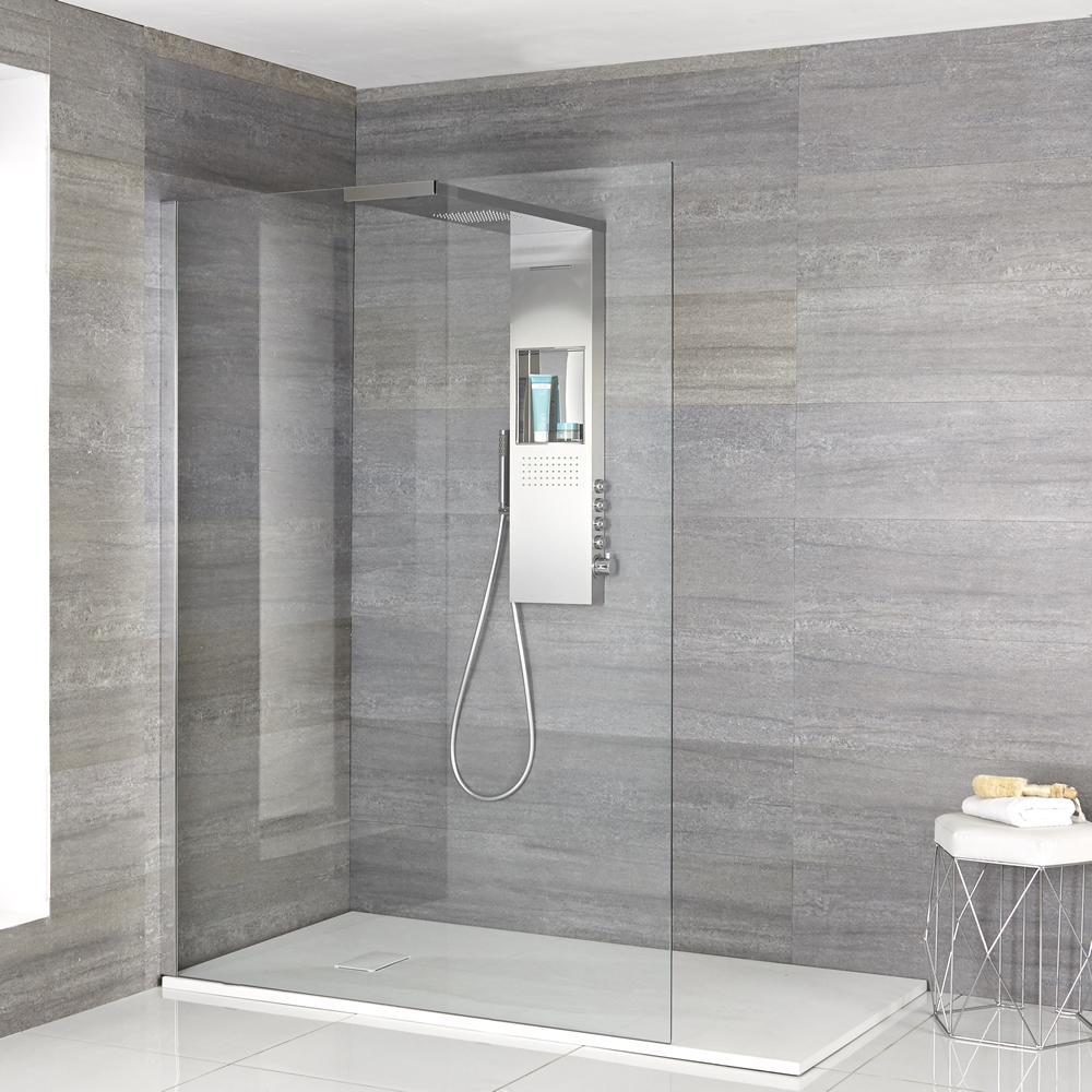 Milano Vaso - Complete Walk-In Shower Enclosure with White Slate Tray and Shower Tower