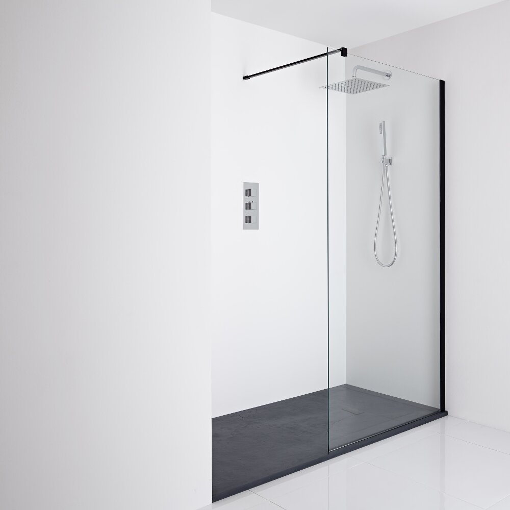 Milano Nero Recessed Walk-In Shower Enclosure (1400 x 800mm) - Inc. Slate Tray