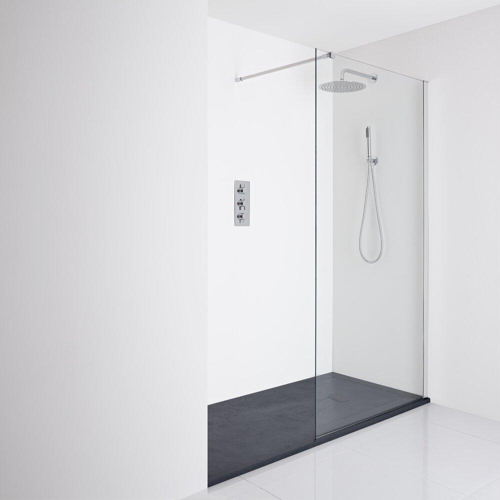 Milano Portland Recessed Walk-In Shower Enclosure (1400 x 800mm) - Inc. Slate Tray