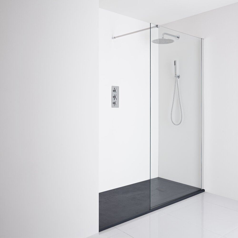 Milano Portland Recessed Walk-In Shower Enclosure (1400 x 900mm) - Inc. Slate Tray