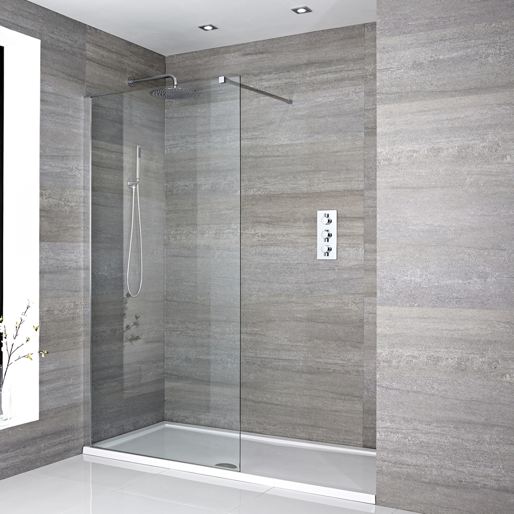 Milano Portland - Recessed Walk-In Shower Enclosure with Tray - Multiple Sizes