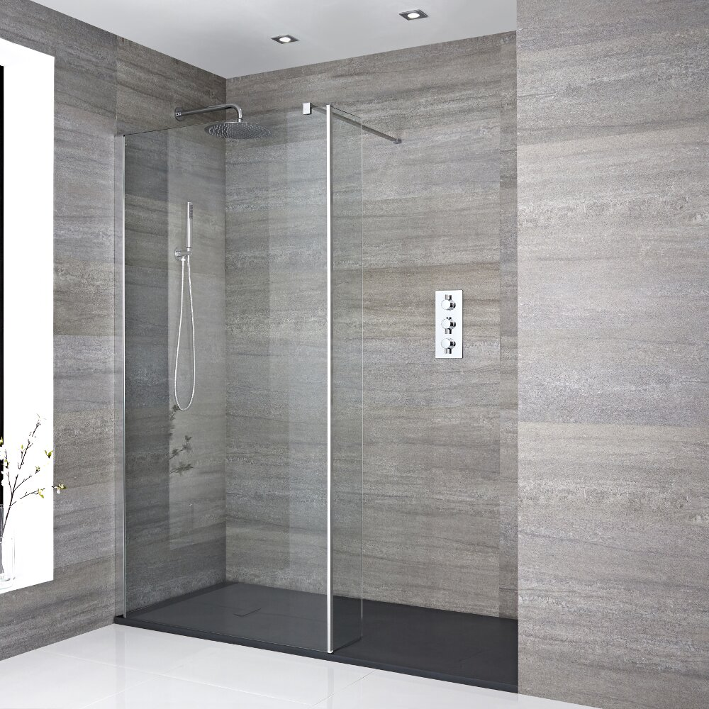 Milano Portland Recessed Walk-In Shower Enclosure (1400 x 900mm) - Inc. Slate Tray & Return Panel