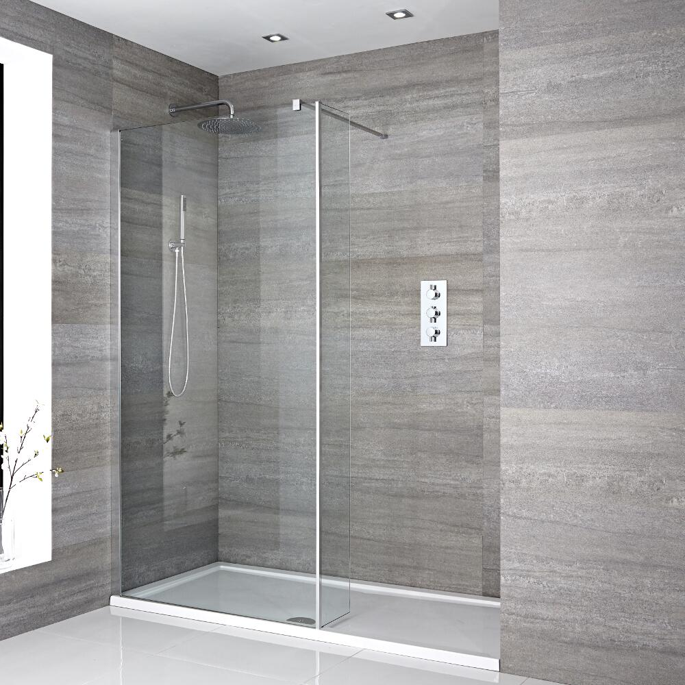 Milano Portland Recessed Walk-In Shower Enclosure (1700 x 800mm) - Inc. Tray & Return Panel