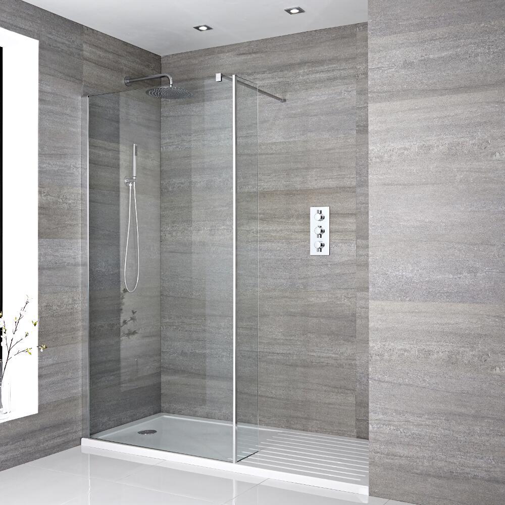 Milano Portland Recessed Walk-In Shower Enclosure (1600 x 800mm) - Inc. Walk-In Tray & Return Panel