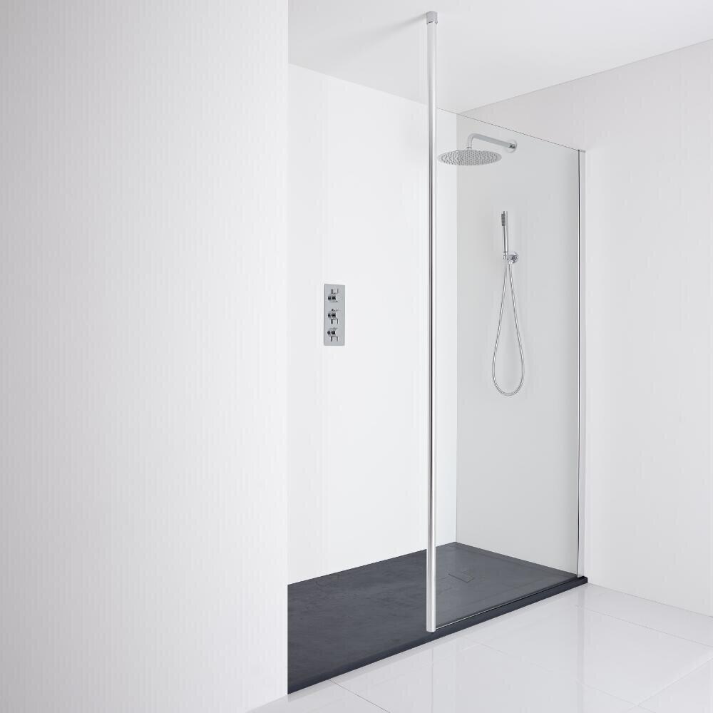 Milano Alto Recessed Walk-In Shower Enclosure (1700 x 800mm) - Inc. Slate Tray