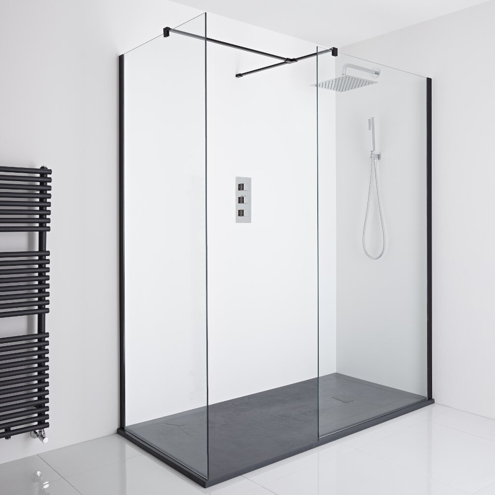 Milano Nero Corner Walk-In Shower Enclosure (1400 x 800mm) - Inc. Slate Tray