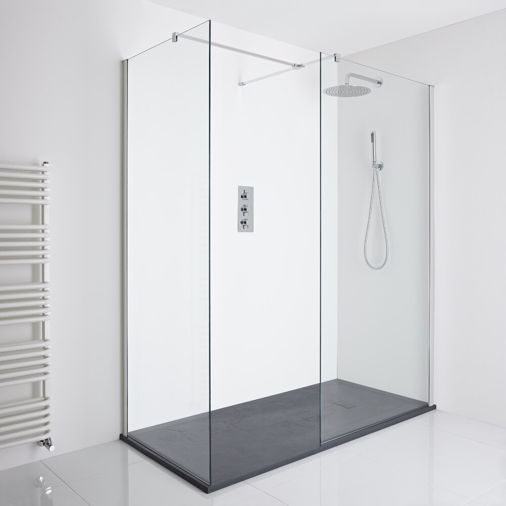 Milano Portland Corner Walk-In Shower Enclosure (1700 x 800mm) - Inc. Slate Tray