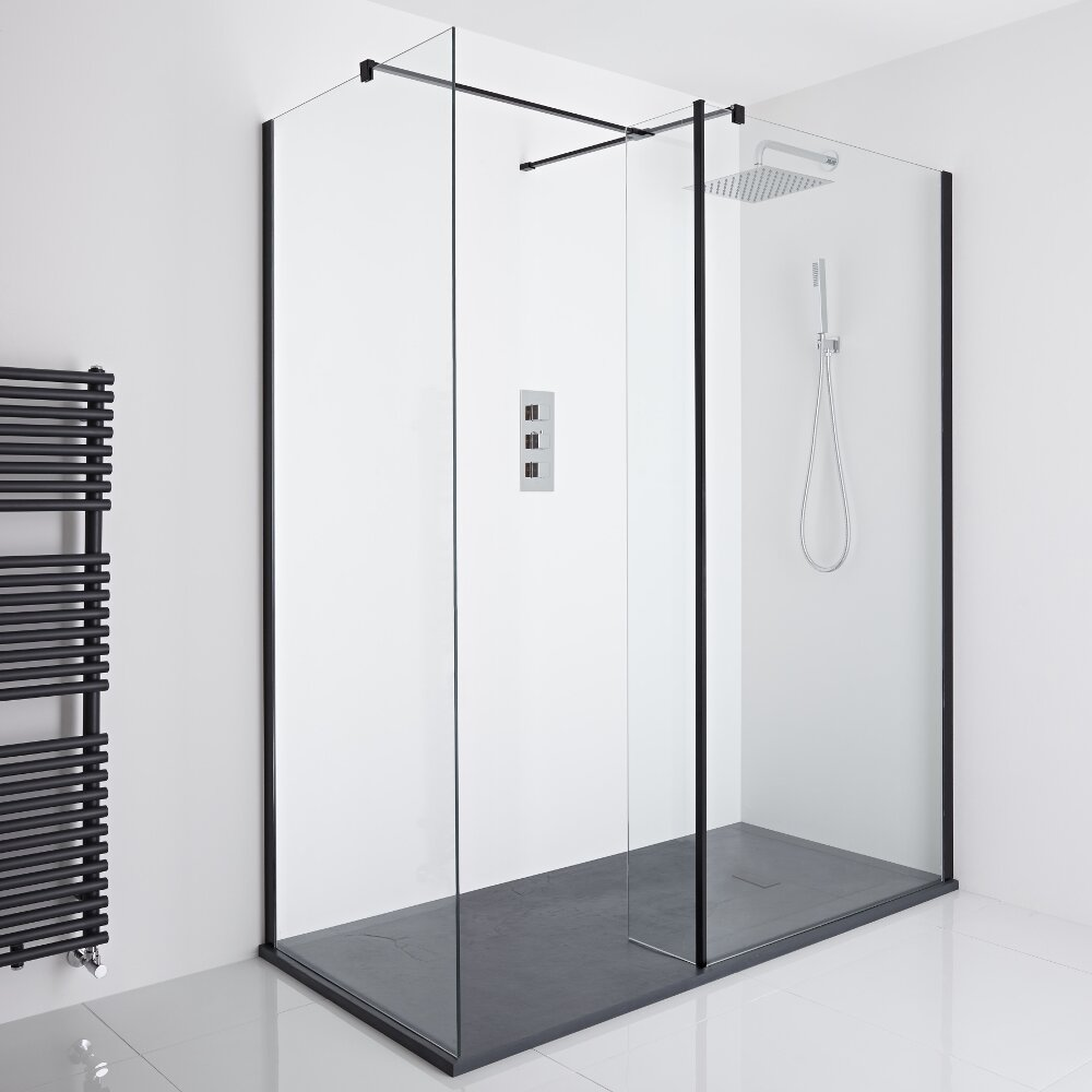 Milano Nero Corner Walk-In Shower Enclosure (1400 x 900mm) - Inc. Slate Tray & Return Panel