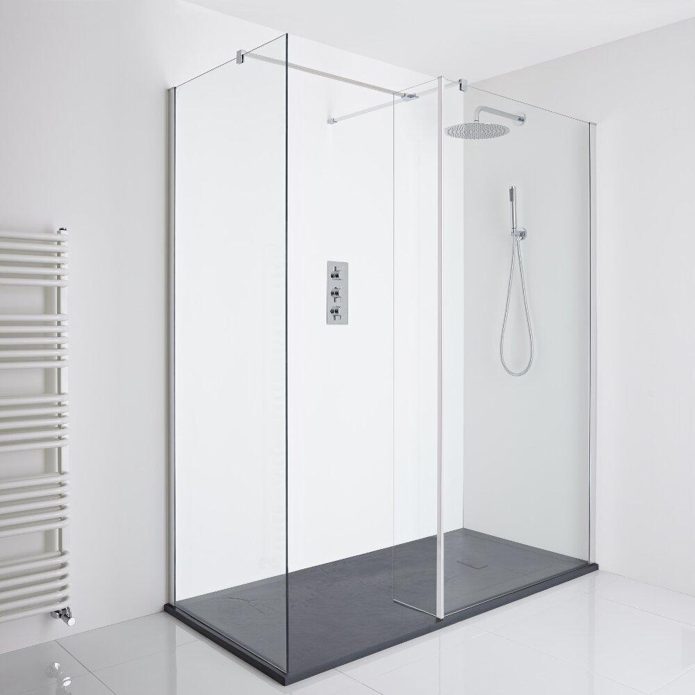 Milano Portland Corner Walk-In Shower Enclosure (1400 x 900mm) - Inc. Slate Tray & Return Panel