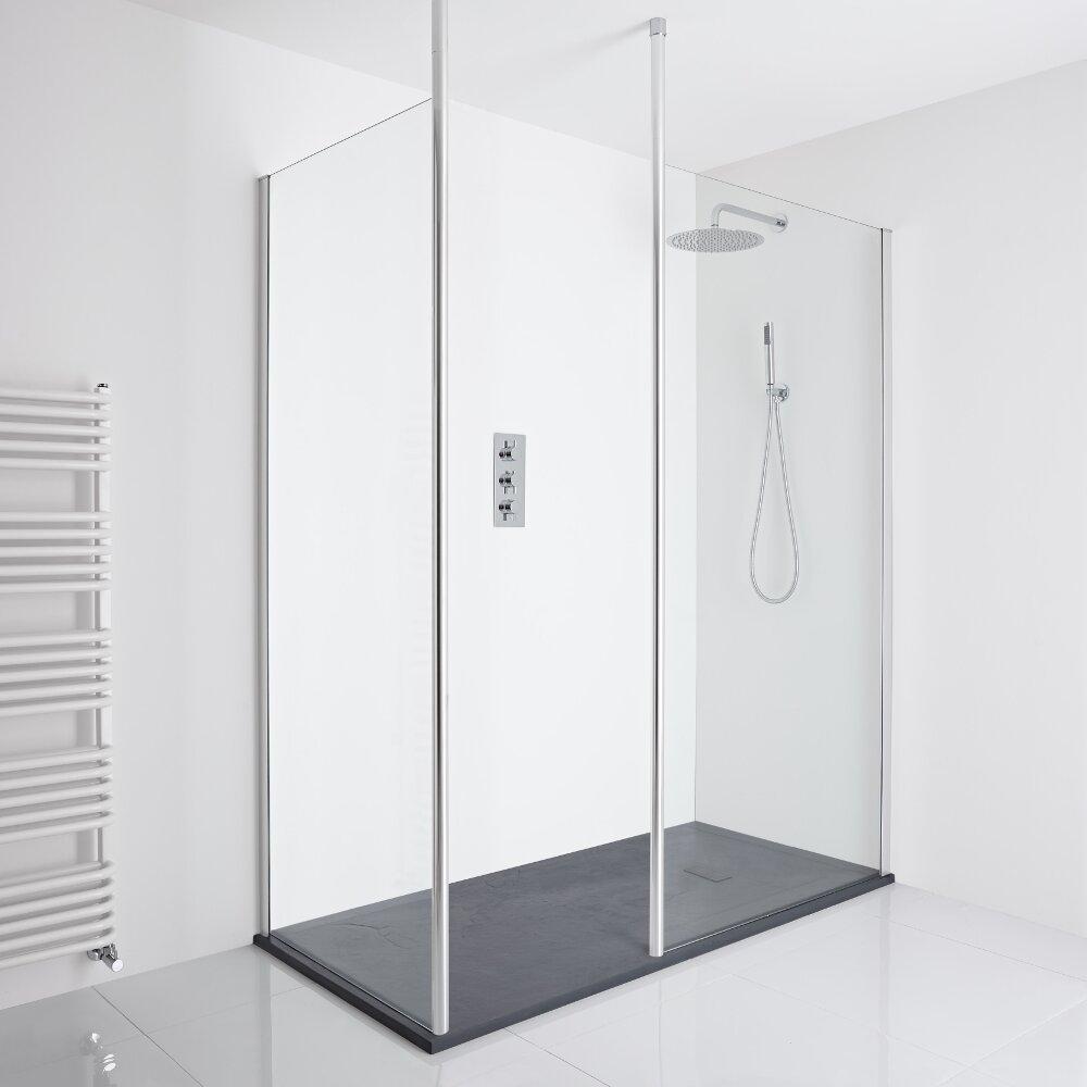 Milano Alto Corner Walk-In Shower Enclosure (1700 x 800mm) - Inc. Slate Tray