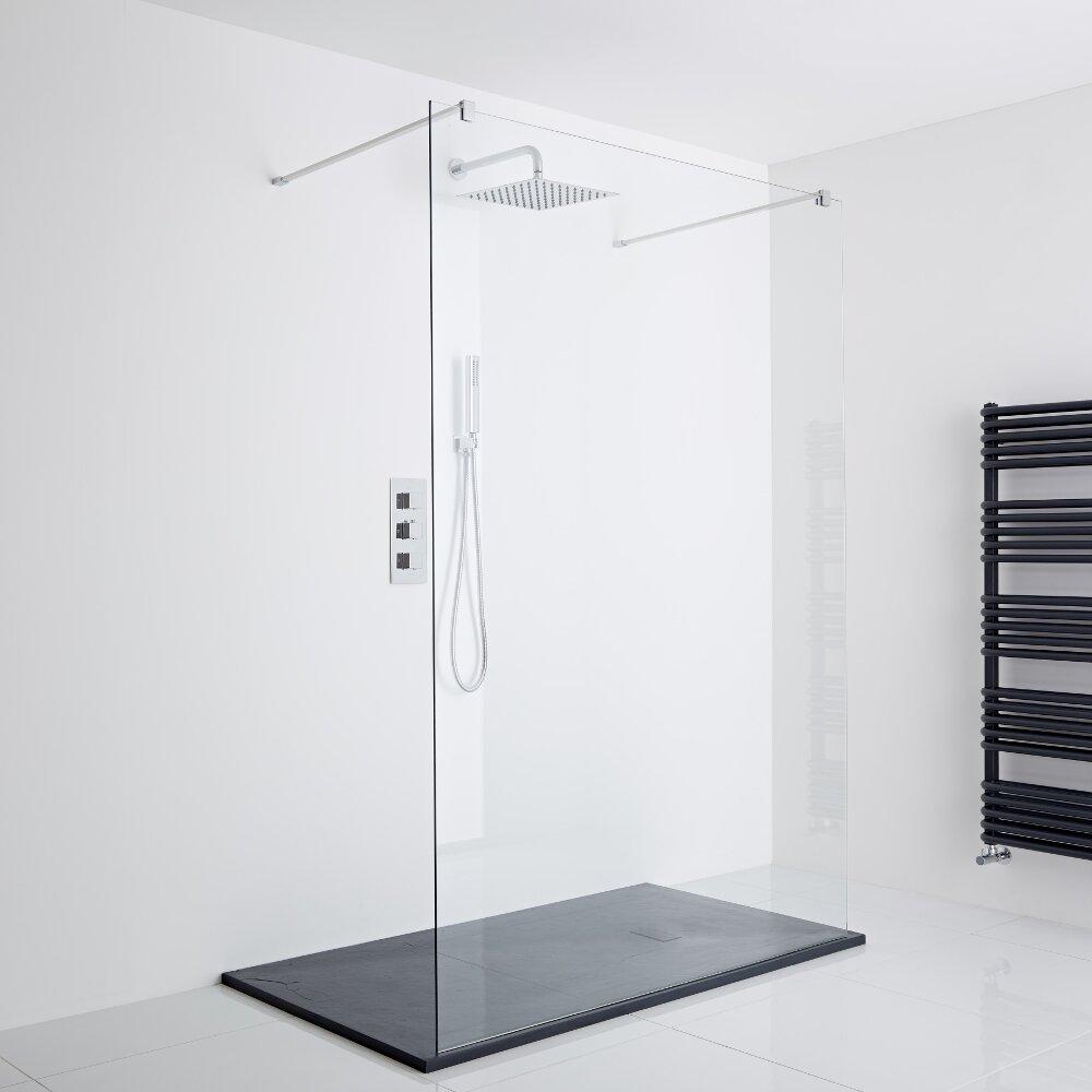 Milano Portland Floating Walk-In Shower Enclosure (1400 x 900mm) - Inc. Slate Tray