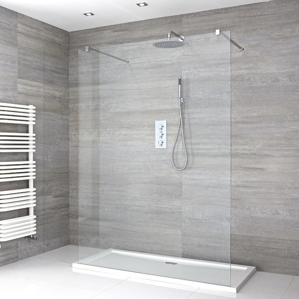 Milano Portland - Walk-In Shower Enclosure with Low Profile Tray - Choice of Sizes
