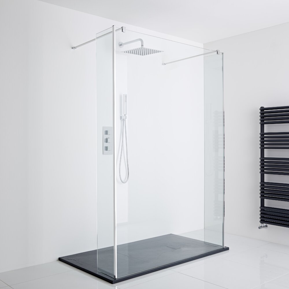 Milano Portland Floating Walk-In Shower Enclosure (1400 x 800mm) - Inc. Slate Tray