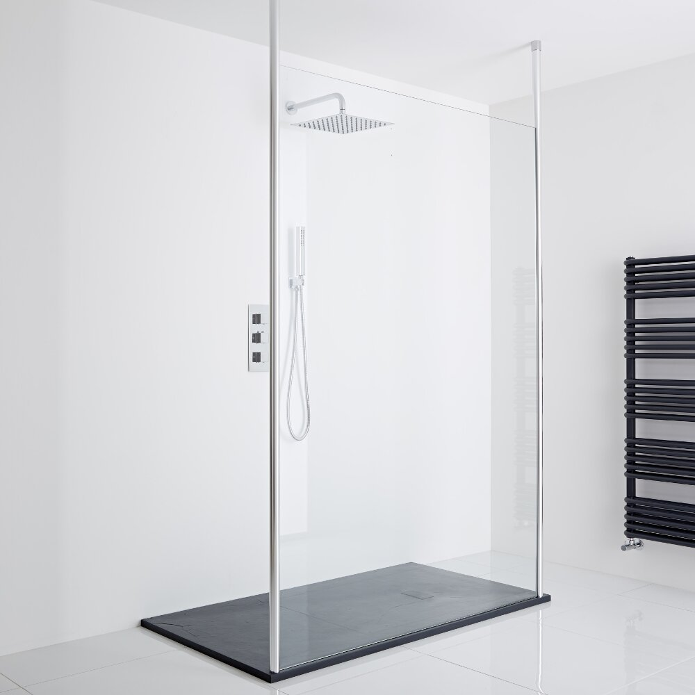 Milano Alto - Floating Wet-Room Shower Enclosure (1200 x 900) - Inc. Slate Tray