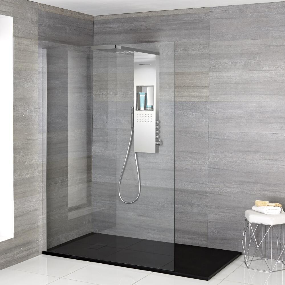 Milano Vaso - Complete Walk-In Shower Enclosure with Graphite Slate Tray and Shower Tower - Choice of Sizes