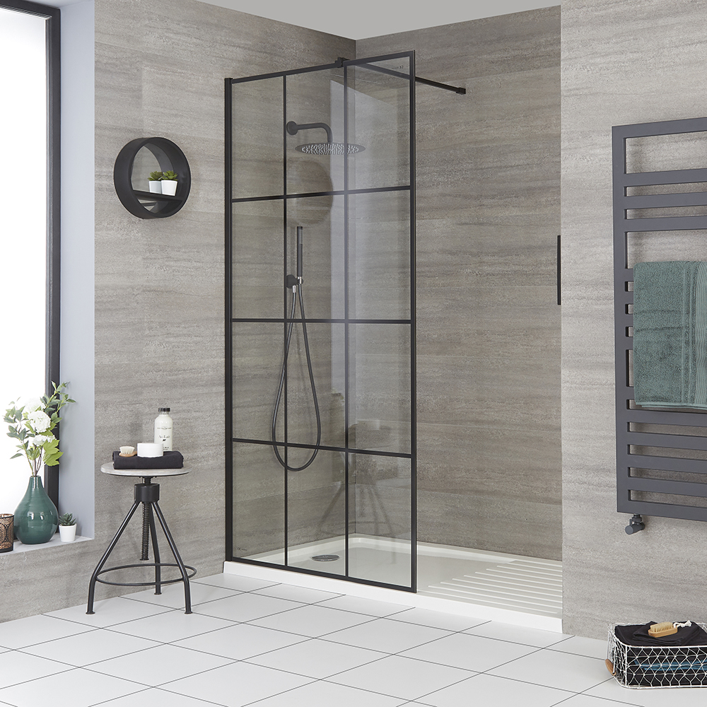 Milano Barq - Recessed Walk-In Shower Enclosure with Tray - Choice of Sizes