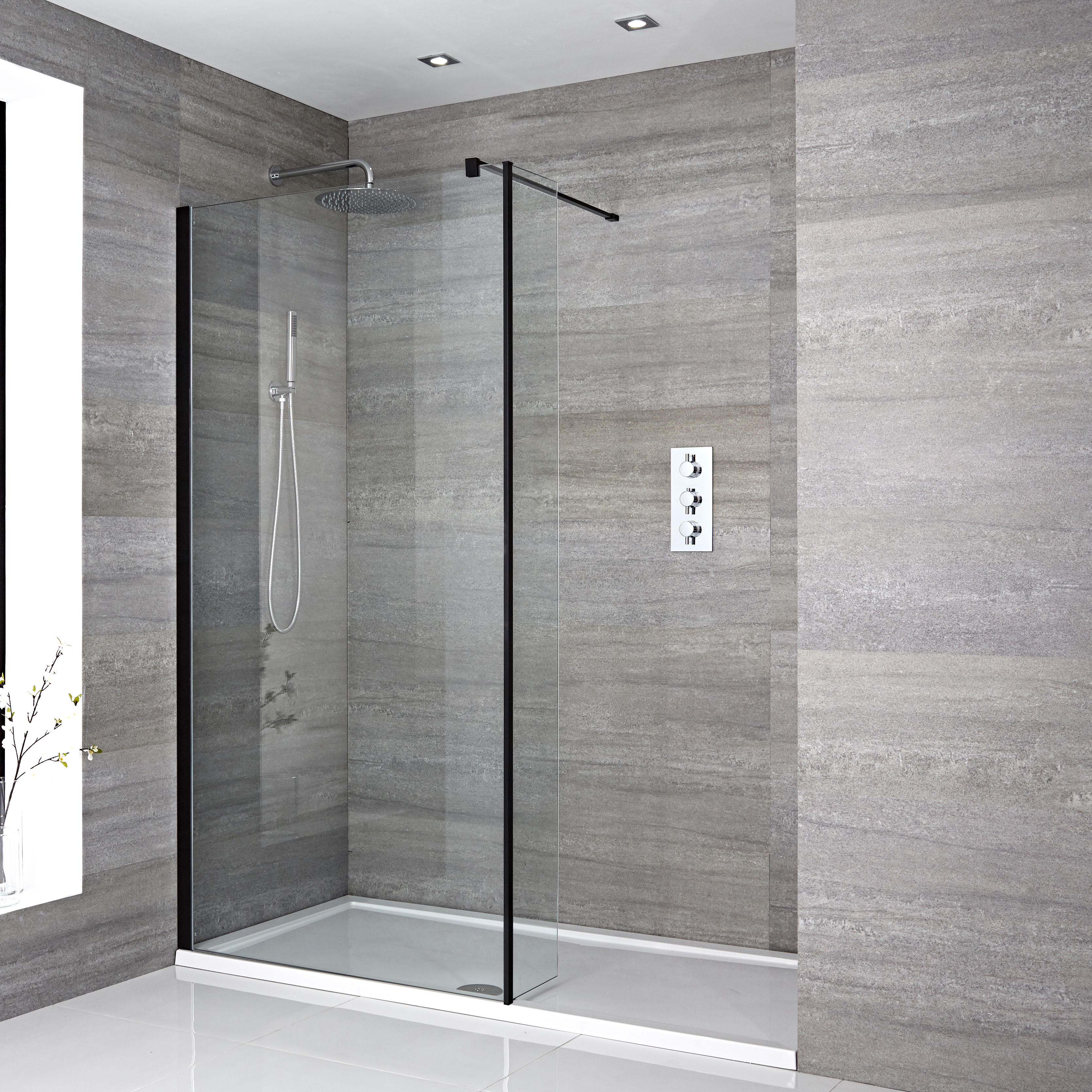 Milano Nero - Recessed Walk-In Shower Enclosure with Tray and Hinged Return Panel - Choice of Sizes