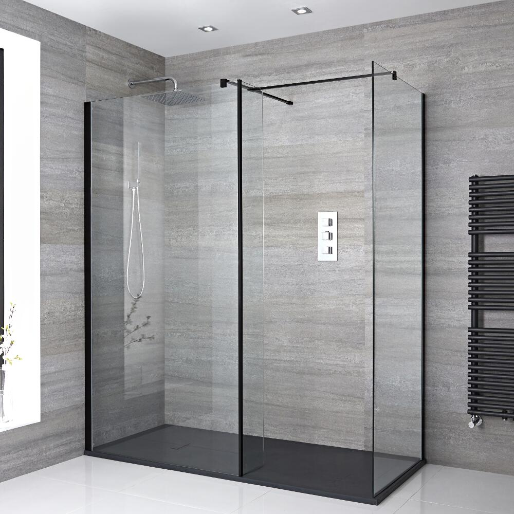 Milano Nero - Corner Walk-In Shower Enclosure with Slate Tray and Return Panel - Choice of Sizes