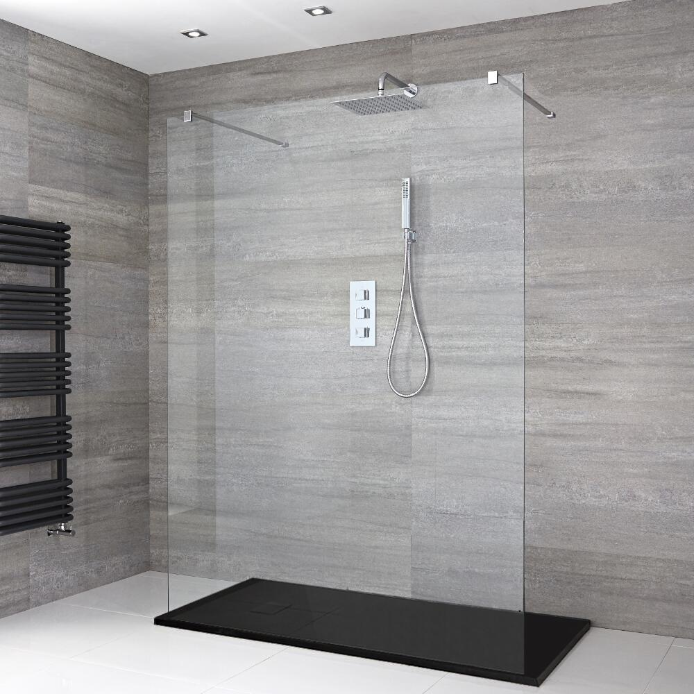 Milano Portland - Floating Walk-In Shower Enclosure with Slate Tray - Choice of Sizes